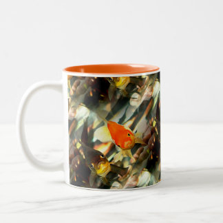 Fancy Goldfish Faces Watercolor Image Two-Tone Coffee Mug