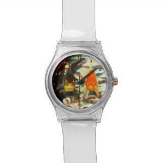 Fancy Goldfish Faces Watercolor Image Wrist Watches