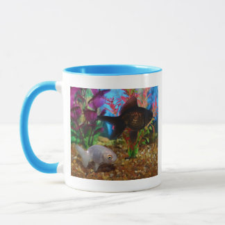 Fancy Goldfish Lionhead Black Moor Mug