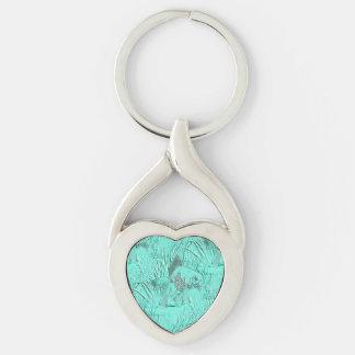 Fancy Goldfish Seafoam Green Silver-Colored Heart-Shaped Metal Keychain