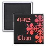 Fancy Goth fleur de lys damask clean dirty 2 Inch Square Magnet