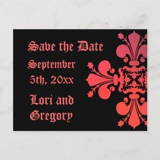 Fancy Goth Save the date fleur de lys damask postcard