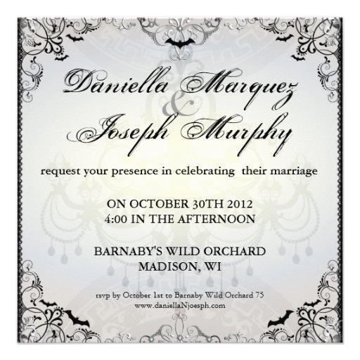 Fancy Gothic Bats Halloween Wedding Invitation from Zazzle.com