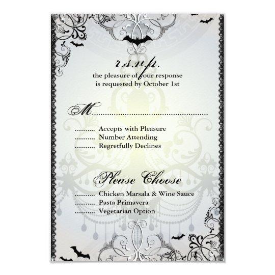 Fancy Gothic Bats Halloween Wedding RSVP Card