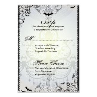 Fancy Gothic Bats Halloween Wedding RSVP Card Announcement
