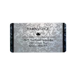 Fancy Gothic Black Damask  Address Seals