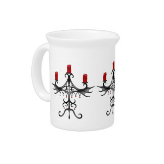Fancy gothic candelabra gray and red pitchers