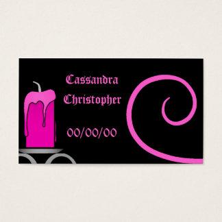 Fancy gothic candelabra hot pink on black wedding business card