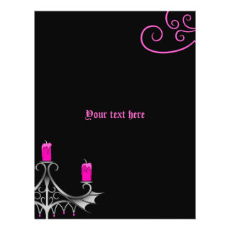 Fancy gothic candelabra hot pink on black wedding flyer