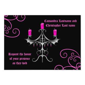 "Fancy gothic candelabra hot pink on black wedding 5"" x 7"" invitation card"