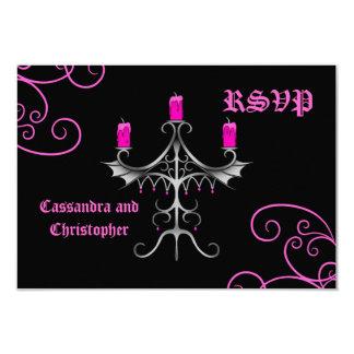 "Fancy gothic candelabra hot pink on black wedding 3.5"" x 5"" invitation card"