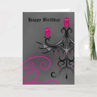 Fancy gothic candelabra in pink on gray birthday card