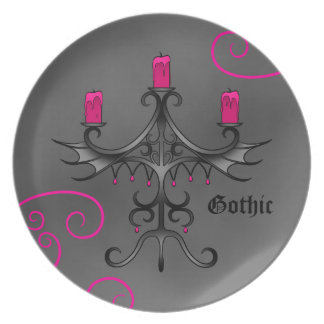 Fancy gothic candelabra melamine plate
