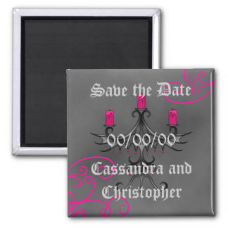 Fancy gothic candelabra on gray save the date refrigerator magnets