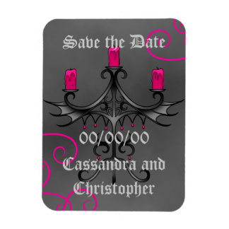 Fancy gothic candelabra on gray save the date rectangular photo magnet