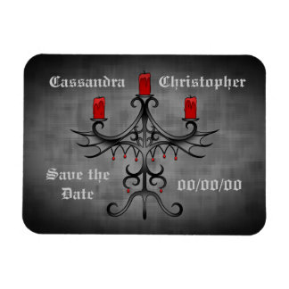 Fancy gothic candelabra on gray save the date rectangle magnets