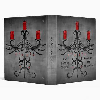 Fancy gothic candelabra on gray wedding 3 ring binder