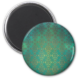 Fancy Green and Gold Damask 2 Inch Round Magnet