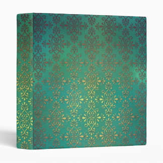 Fancy Green and Gold Damask Binder