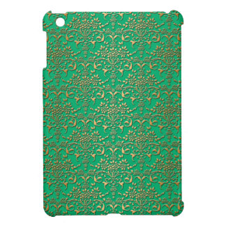 Fancy Green and Gold Damask Pattern iPad Mini Cases