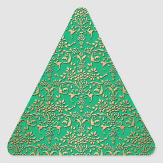 Fancy Green and Gold Damask Pattern Triangle Sticker