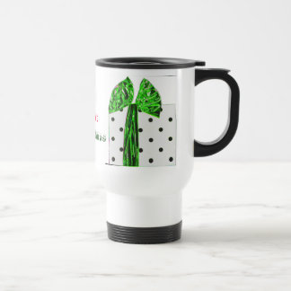 Fancy Green and Red Bow Christmas Packages Travel Mug