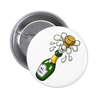 Fancy Green Cartoon Champagne Bottle Popping Cork Pins