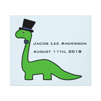 Fancy Green Dinosaur Baby Boy Birth Custom Canvas Print