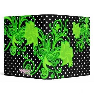 Fancy Green Flower Flourishing Custom Binder binder