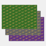 [ Thumbnail: Fancy Green, Gray, Purple, Faux Gold 18th Event # Wrapping Paper Sheets ]