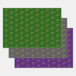 [ Thumbnail: Fancy Green, Gray, Purple, Faux Gold 1st Event # Wrapping Paper Sheets ]
