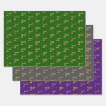 [ Thumbnail: Fancy Green, Gray, Purple, Faux Gold 2nd Event # Wrapping Paper Sheets ]