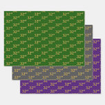 [ Thumbnail: Fancy Green, Gray, Purple, Faux Gold 32nd Event # Wrapping Paper Sheets ]