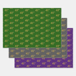 [ Thumbnail: Fancy Green, Gray, Purple, Faux Gold 41st Event # Wrapping Paper Sheets ]