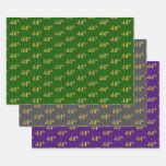 [ Thumbnail: Fancy Green, Gray, Purple, Faux Gold 44th Event # Wrapping Paper Sheets ]