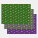 [ Thumbnail: Fancy Green, Gray, Purple, Faux Gold 4th Event # Wrapping Paper Sheets ]