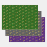 [ Thumbnail: Fancy Green, Gray, Purple, Faux Gold 5th Event # Wrapping Paper Sheets ]