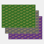 [ Thumbnail: Fancy Green, Gray, Purple, Faux Gold 64th Event # Wrapping Paper Sheets ]