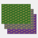 [ Thumbnail: Fancy Green, Gray, Purple, Faux Gold 88th Event # Wrapping Paper Sheets ]