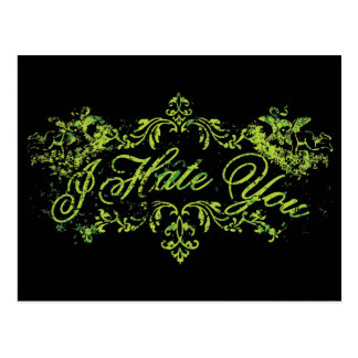 Fancy Green I Hate You Post Cards