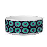 fancy green purple circle pattern cat food bowl