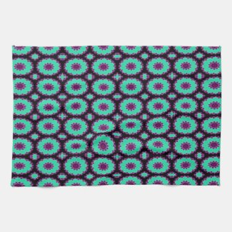 fancy green purple circle pattern mojo_kitchentowel
