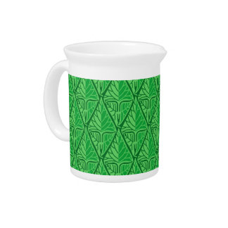 Fancy Green Tropical Leaves Drink Pitcher