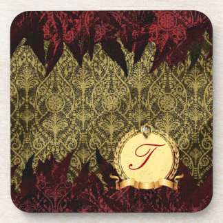 Fancy Grunge Damask Gold and Red with Monogram Drink Coaster