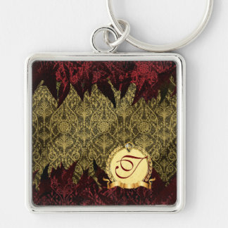Fancy Grunge Damask Gold and Red with Monogram Key Chain