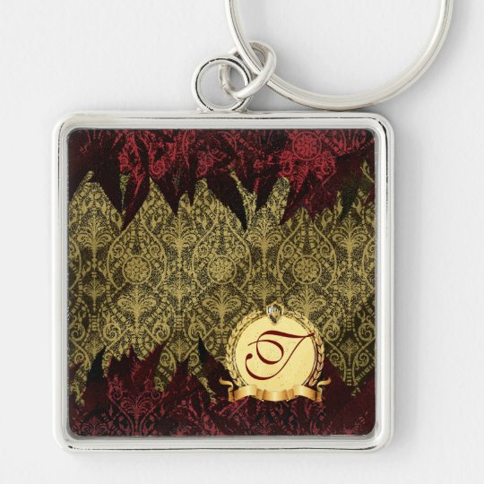 Fancy Grunge Damask Gold and Red with Monogram Keychain