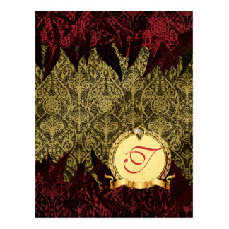 Fancy Grunge Damask Gold and Red with Monogram Postcard