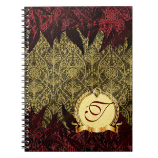 Fancy Grunge Damask Gold and Red with Monogram Spiral Notebook