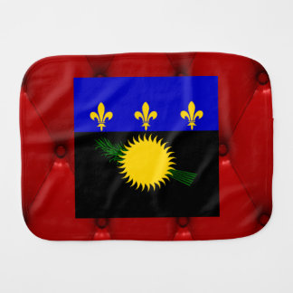 Fancy Guadeloupe Flag on red velvet background Baby Burp Cloth