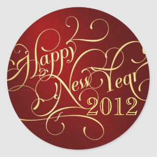 Fancy Happy New Year Stickers - Red & Gold